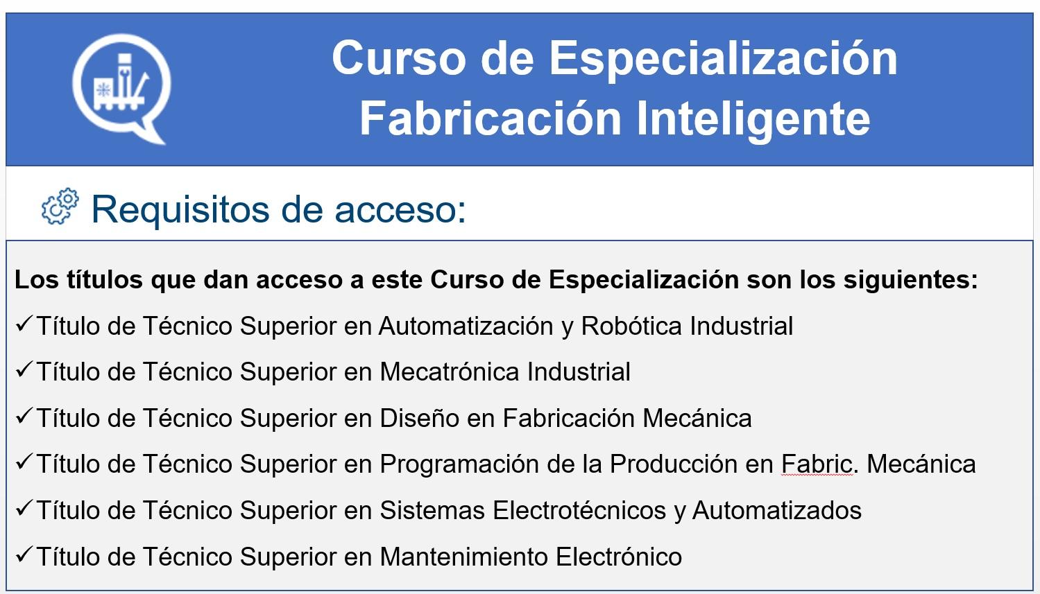Curso de Especialización  Fabricación Inteligente.